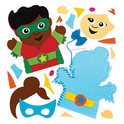 Baker Ross Star Hero Hand Puppet Sewing Kit for Kids (Pack of 4) AW545, Craft Felt Pieces and Decorations for Children to Sew (Needlepoint Kit Stars)