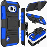 Galaxy S6 Active Case, ZENIC(TM) Hybrid Dual Layer Armor Defender Full-Body Protective Case Cover with Kickstand & Belt Clip Holster Combo for Samsung Galaxy S6 Active All Carriers (Dark Blue)