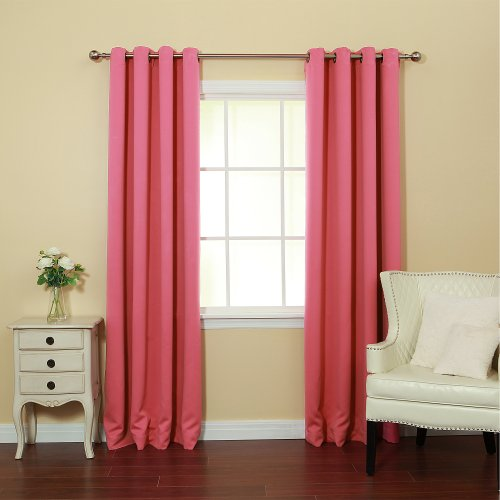 Pink Velvet Drapery Panels (Best Home Fashion Thermal Insulated Blackout Curtains - Antique Bronze Grommet Top - Pink - 52