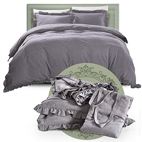 Duvet Cover King ,Vintage Washed, Premium Cotton Chambray Ruffles Duvet Cover Set ,Relaxing Soft Breathable Kids Bedding Covers Set With Buttons Closure Grey