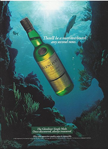 Glenlivet Single - MAGAZINE AD For 1995 Glenlivet 12 Single Malt Scotch Man Overboard Any Second