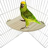 Bwogue Wooden Parrot Bird Platform Perch Stand for Budgie Conure Parrot Cages Toy