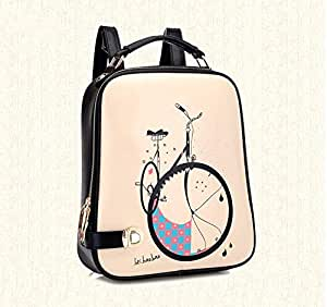 Cute Bicycle Design Backpack Shoulder Bag (Leather)