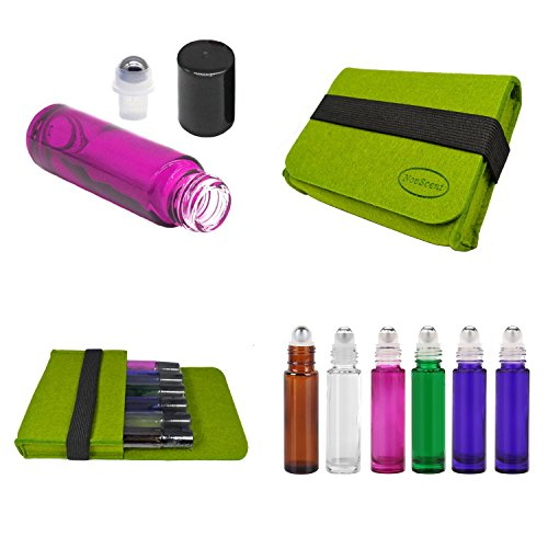 Glass Ball Compact - Premium Refillable Empty Roller Bottle Set Include 6 Piece 10ML Roller Bottle and 1x Green Carring Case DIY Your Own Blend (Mix 6)