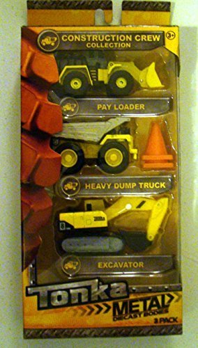 Tonka Toy Construction Truck (Tonka Construction Crew Collection Metal Diecast Bodies 3 Pack - Pay Loader, Heavy Dump Truck & EXCLUSIVE! Excavator (Bonus: 2 Pylons))