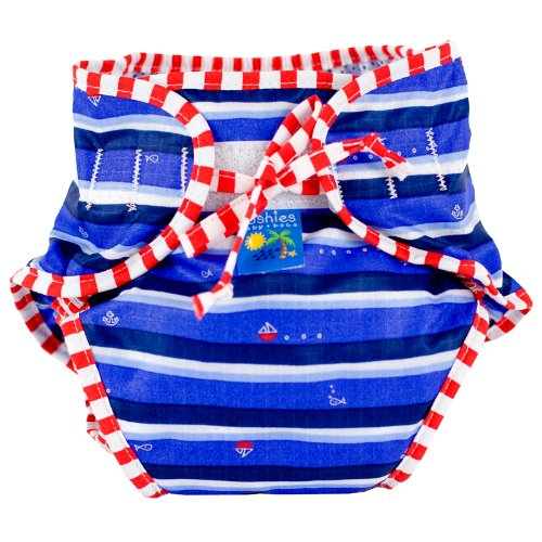 Kushies Swim Diaper, Blue Ahoy Print, (Kushies Washable Diaper Liners)