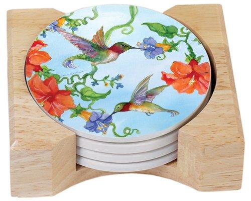 CounterArt Hummingbirds Orange Absorbent Coasters