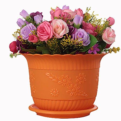 URYY Plastic Flower Pot Planters with Saucer Pallet Multicolor Resin Circle Flower Plant Pots