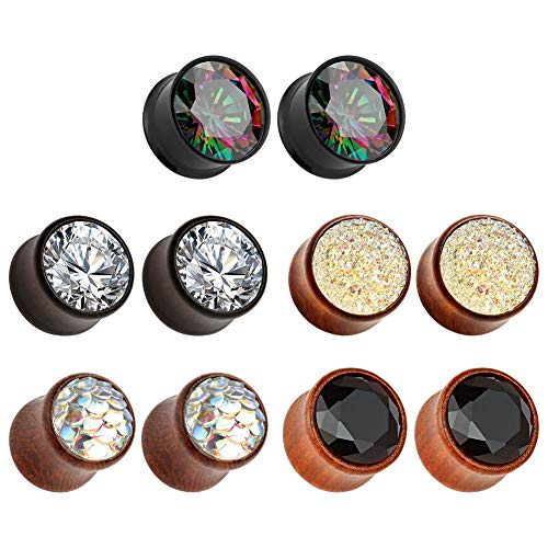 TBOSEN 5 Pairs Gauge Wood Tunnels Earrings Zircon Stone Body Jewelry Set Stretching Tapers Expanders Wooden Ear Plugs Gauge 0g - 5/8 inch