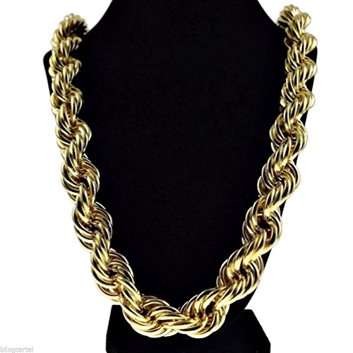 Dancing Stone Chunky 20mm Golden Plated Hollow Thick Rope 36'' Necklace Hip Hop Dookie Chain by Dancing Stone Mens Necklace