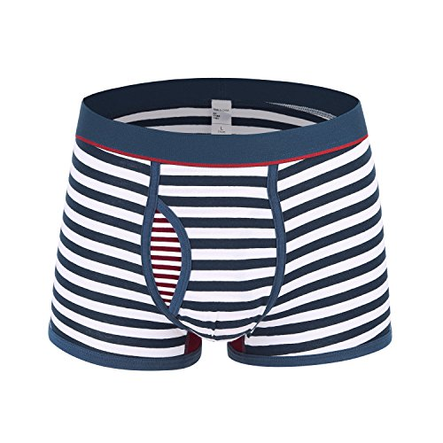 Novee Men's Sexy Stripe Soft Cotton Boxer Briefs Underwear Pouch Open Fly Mid-Rised (Trunk-Thick Blue XL)