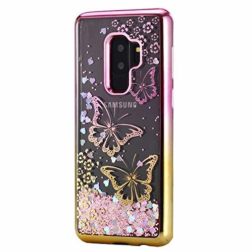 LuckyW Enchapado Caja de Bling for Samsung Galaxy S9 TPU Silicone Transparente Cubierta de la Contraportada del Color del SuaveSuave Ligero Ultra delgado Delgado [Resistente a los arañazos, a prueba d Mariposa