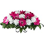 Beauty-Amaryllis-and-White-Mum-Mix-Artificial-Saddle-Arrangement-SD2132