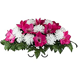Ruby's Silk Flowers Beauty Amaryllis and White Mum Mix Artificial Saddle Arrangement (SD2132) 15
