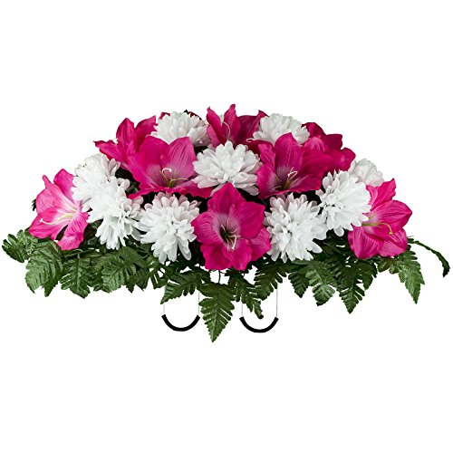 (Ruby's Silk Flowers Beauty Amaryllis and White Mum Mix Artificial Saddle Arrangement (SD2132))