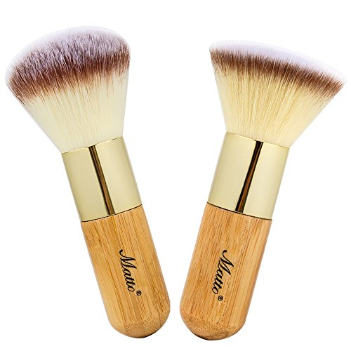Set Face Powder (Matto Bamboo Makeup Brush Set Face Kabuki 2 Pieces - Foundation and Powder Makeup Brushes for Mineral BB)