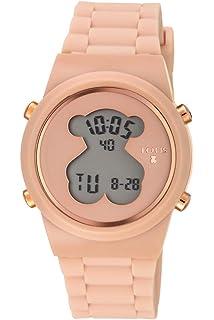 Reloj tous digital D-Bear de acero IP rosado con correa de Silicona nude Ref