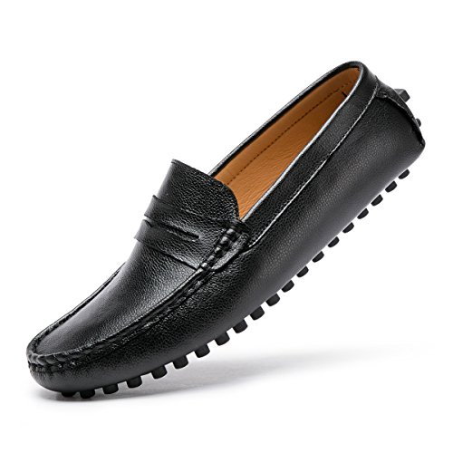 (ARTISURE Men's Classic Lite Genuine Leather Penny Loafers Driving Mocs Casual Easy Slip On Fashion Slippers Comfort Boat Shoes Black 8.5 M US SKS-1223HEI085)