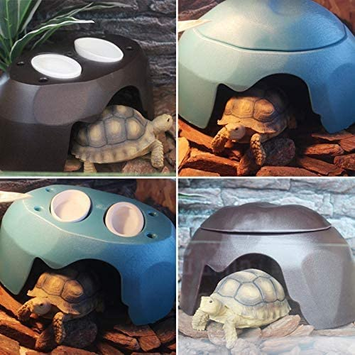 POPETPOP Reptile bowl reptile hide habitat humidify cave for turtle lizard tortoise amphibians snake black