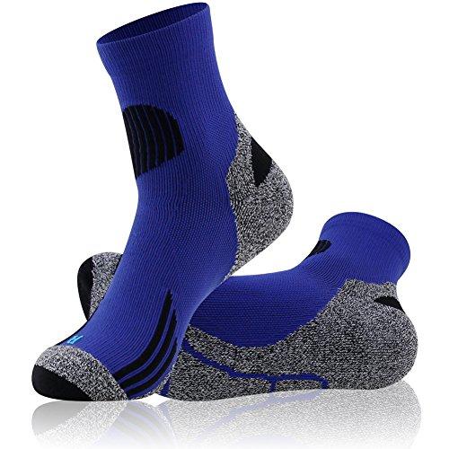 Running Socks Short, LANDUNCIAGA Men Quarter Compression Socks 10-15 mmHg Ankle & Arch Support Cycling Running Shorts Crew Hiking Trekking Socks Blue -