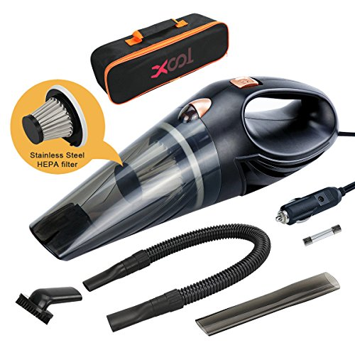 Car Vacuum, DC 12V Car Vacuum Cleaner High Power with Stronger Suction Potable Handheld Auto Vacuum Cleaner for Car Hand Car Cleaner with Stainless Steel HEPA Filter & Carrying Bag, 14.8FT Power Cord