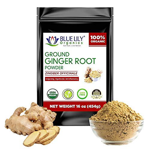 Blue Lily Ground Ginger Root Powder (1 lb) - For Tea, Baking, Cooking - Provides Anti-inflammatory Support, Boosts Immunity & Metabolism - Non-GMO, Organic, All Natural Zingiber Officinale Powder (Best Antacid Syrup In India)