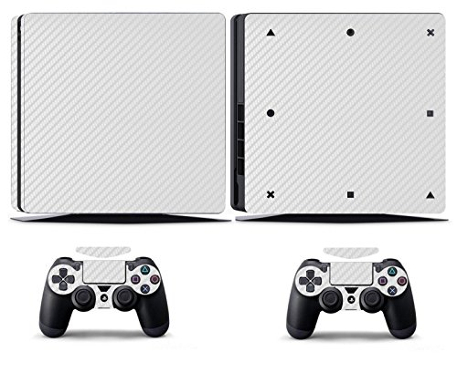 Price comparison product image Cosines PS4 Slim Stickers Vinyl Decal Protective Console Skins Cover for Sony Playstation 4 Slim and 2 Controllers White Carbon Fiber