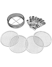 CLABBY ROUND LAKE Galvanized Iron Garden Sieve - Soil Sieve with 4 Interchangeable Mesh Sizes (3mm, 6mm, 9mm, 12mm) - Sifting Pan - Complete with Cotton Work Gloves