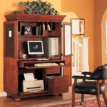 sunrise computer armoire traditional oak