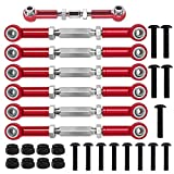 XIND ELE. Alloy Adjustable Turnbuckles Camber Links Set for 1/10 Traxxas 4X4 Slash 2WD Rustler Stampede 4WD Upgrade 3644 3745 1935, Red