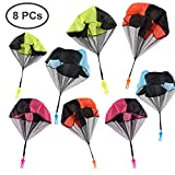 Tangle Free Throwing Parachute with Flying Super Men, 4 Color Parachute for Kids ,Outdoor Toys,Toss It Up (8 PCS)