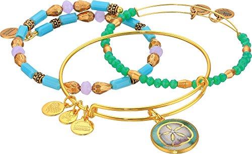 Alex and Ani Women's Marina Sand Dollar Bracelet Set of 3 Gold Bracelet