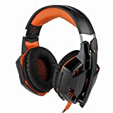 Elepawl G2000 Over-ear Game Gaming Headphone Headset Earphone Headband with Volume Control 3.5mm Audio Noise Reduction USB LED Light Cool Style Stereo for PC, PS4, Xbox One (Black & Orange)