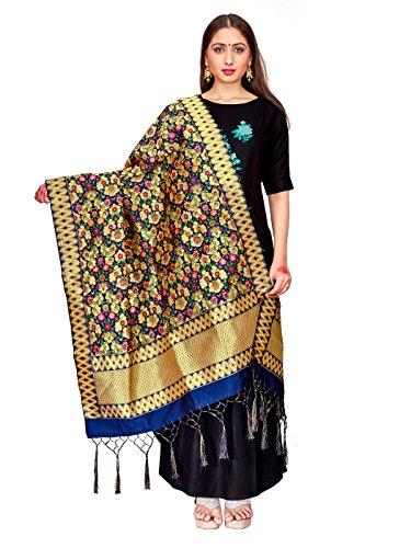 ELINA FASHION Women's Zari Work Indian Banarasi Art Silk Woven Only Dupatta For Dress Material & Salwar Suit (Navy Blue (Navy Blue Art Silk)