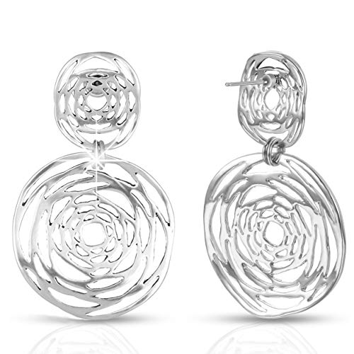 XZP Woman Sterling Silver Plated Dangle Earrings Statement Post Flower Design Women Drop Earrings Jewelry (Silver)
