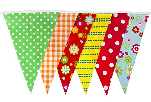 Flag Cottage - Super Stars 35 Flags 30 Feet Vintage Cottage Tea Party Pennant Flag Bunting (C1351)