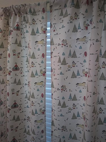 "COWBOY& FRIENDS western, scoots Campfire 2 panels/Tiers - Window/Kitchen, Bath, Laundry, basement, kids playrooms, daycare schools, Kitchen cafe curtains 3"" wide rod pocket 55""L"