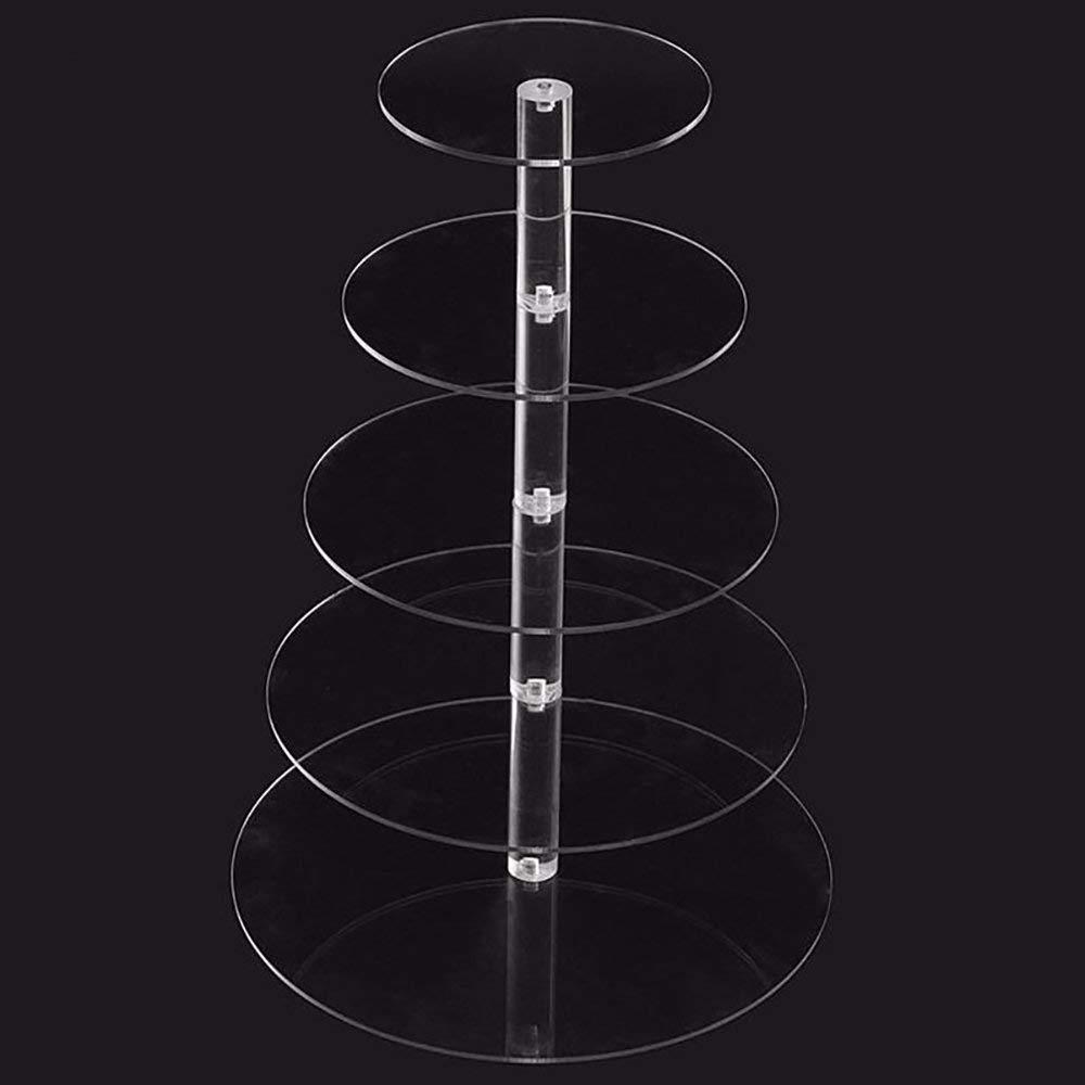 TGSEA 3/4/5段 クリスタル アクリル 円形 ケーキスタンド ラック ホルダー タワー ウェディング ベイビー ショー フェスティバル 5 layer TGSEA-001 5 layer  B07LFRMWRS