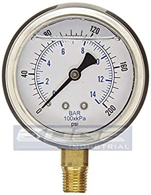"""GAUGE Stainless Steel Lower Mount Liquid Filled Pressure, 2.5"""" FACE / DIAL, Rated WOG, 1/4"""" Male NPT, Range 0 - 200 PSI"""