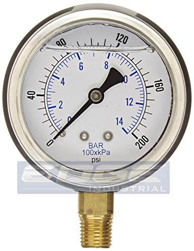 """NEW STAINLESS STEEL LIQUID FILLED PRESSURE GAUGE WOG WATER OIL GAS 0 to 200 PSI LOWER MOUNT 0-200 PSI 1/4"""" NPT 2.5"""" FACE DIAL FOR COMPRESSOR HYDRAULIC AIR TANK"""