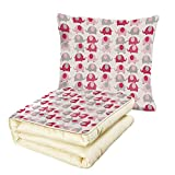 Quilt Dual-Use Pillow Nursery Vibrant Colored Abstract Elephants Polka Dots Chevron Motifs Multifunctional Air-Conditioning Quilt Dark Coral Pale Pink Pale Grey