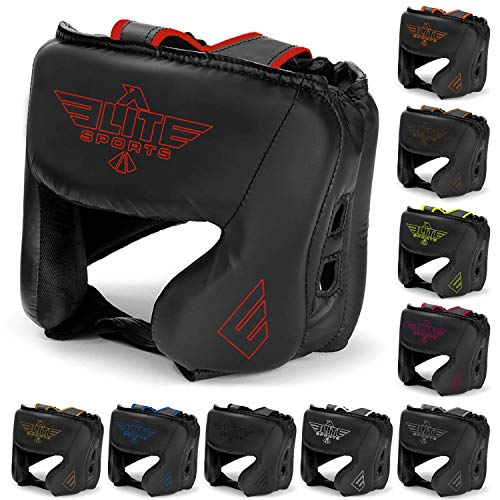 Elite Sports Boxing MMA Sparring Kickboxing Headgear for Men, Muay Thai Boxing Head Guard Helmet for Head Protection (Red)