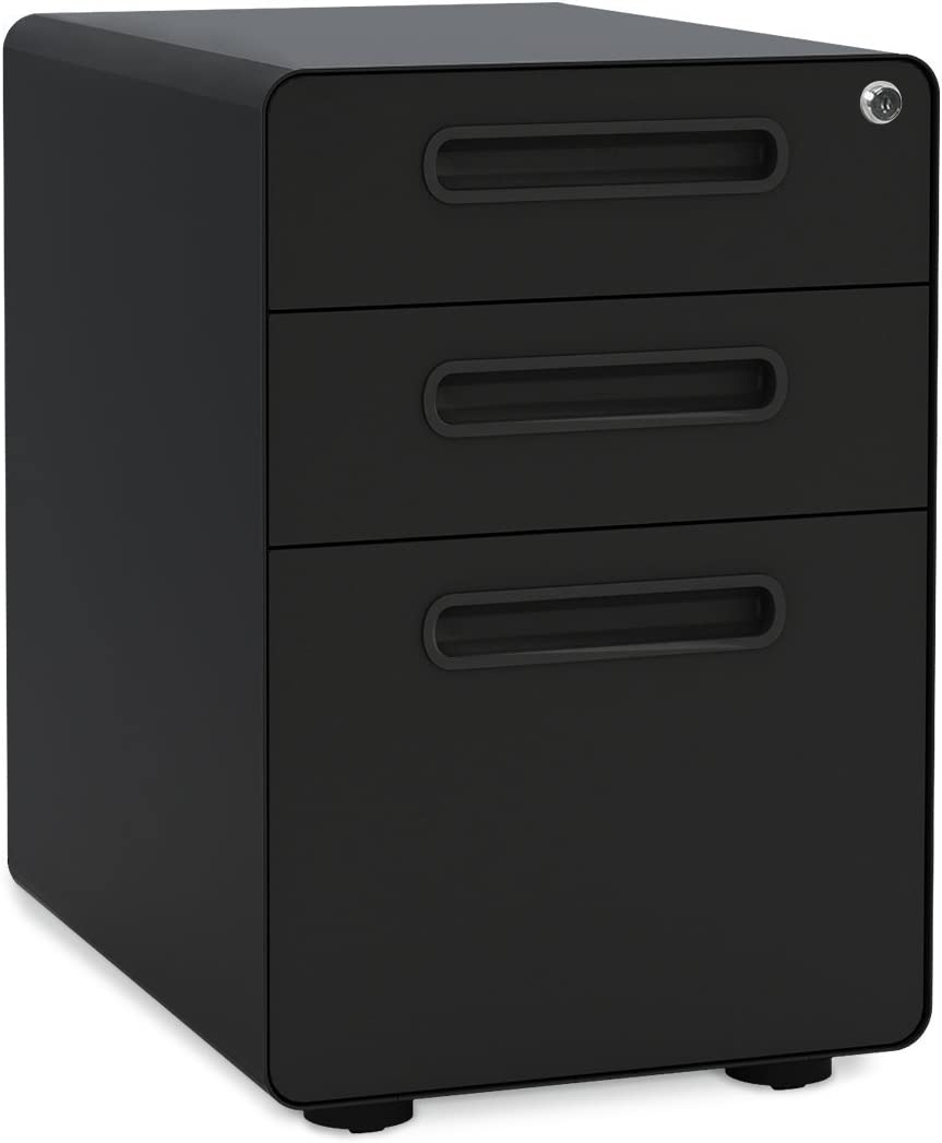 DEVAISE Round Edge File Cabinet Black Cabinet