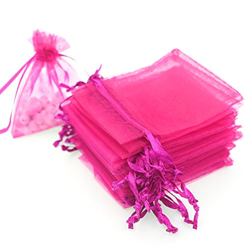 Drawstring Jewelry Gift (AKStore 100 Pieces Draw String Organza Jewelry Rose Favor Pouches Wedding Party Festival Gift Candy Bags, 3.5 Ounce)