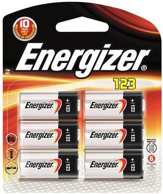 Energizer Battery 3v Lithium 123, 6 Pack