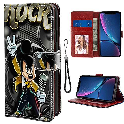 (Wallet Case Fit Apple iPhone Xr (2018) (6.1 Version) Rock Mickey Mouse Wrist Lanyard)