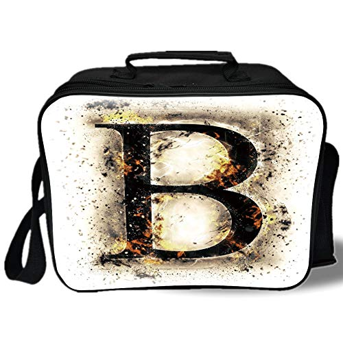 Letter B 3D Print Insulated Lunch Bag,Language Flames Fire Uppercase B with Wild Hot Blurry Effects Symbols Image Decorative,for Work/School/Picnic,Tan Black Orange