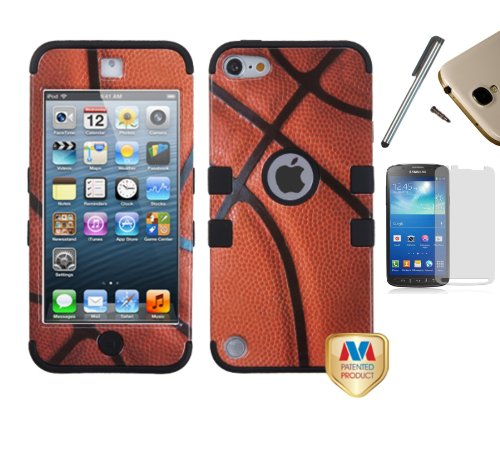For Apple iPod Touch (5th / 6th Generation) Dual Layer Tuff Armor Impact Hybrid Soft Silicone Cover Hard Snap On Plastic Case + [WORLD ACC] TM Brand LCD Screen Protector + Silver Stylus Pen + Black Dust Cap Free Gift (Basketball / Black)