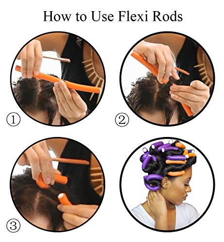 Xnicx 47pcs Hair Flexi Rods Curlers Flexible Rods Set Girls Women