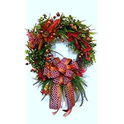 Fall Rustic Wreath Orange Berry Door Wreath Rustic Berry Wreath Red Wreath Autumn Decor Floral Decor Fall Decoration